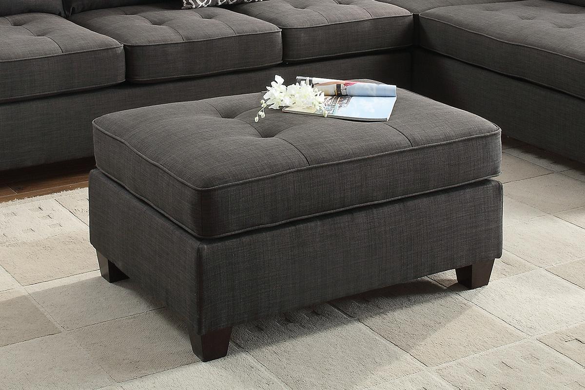 Poundex F6992 Jackson ash black dorris fabric ottoman