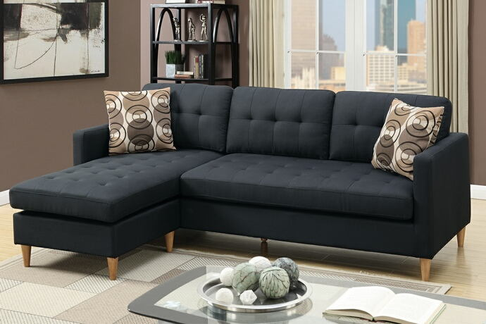 Poundex F7084 2 Pc Leta Black Polyfiber Fabric Apartment Size Sectional Sofa Reversible Chaise