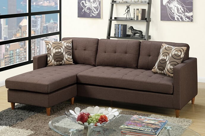 Poundex F7086 2 pc leta chocolate polyfiber fabric apartment size sectional sofa reversible chaise