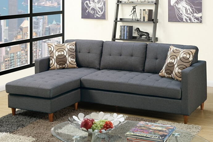 Poundex F7094 2 Pc Leta Collection Blue Grey Polyfiber Fabric Upholstered Apartment Size Sectional Sofa With Reversible Chaise