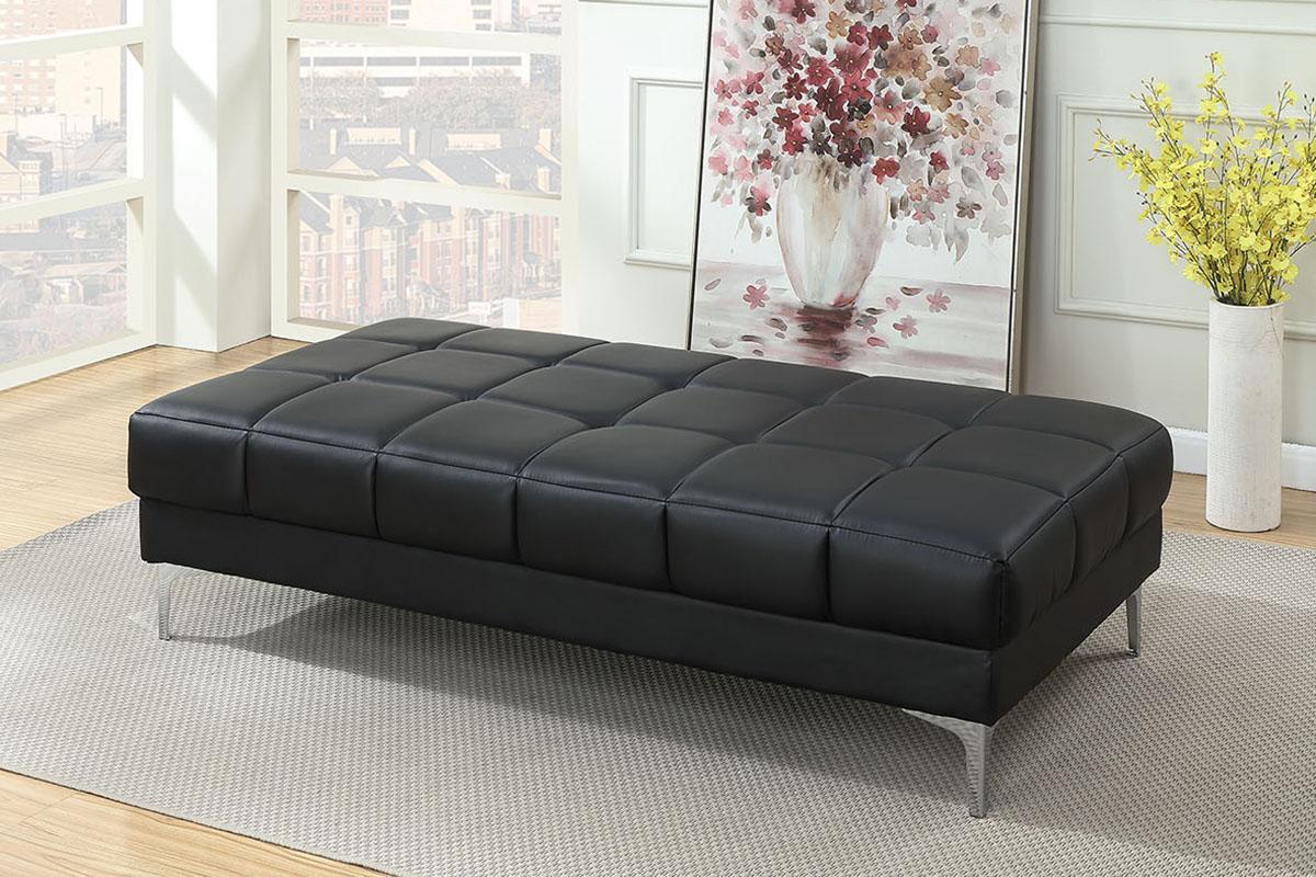 Poundex F7228 Orren ellis hayden black bonded leather modern ottoman