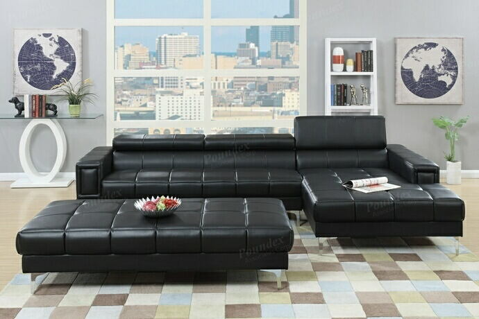 2 pc collette collection black bonded leather upholstered modern style  sectional sofa