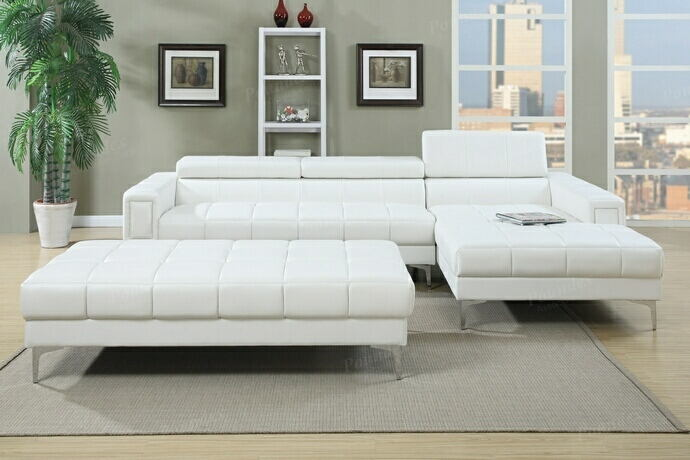 Poundex F7364 2 pc collette collection white bonded leather upholstered modern style  sectional sofa