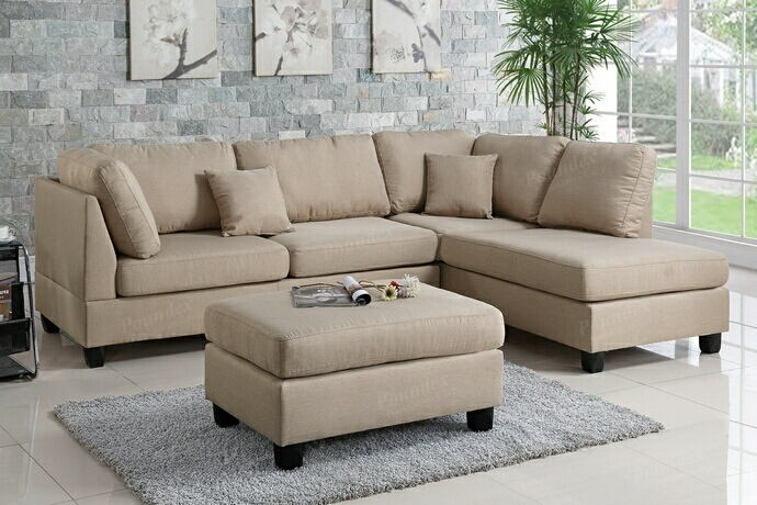 Poundex F7605 3 pc martinique sand polyfiber fabric sectional sofa reversible chaise and ottoman