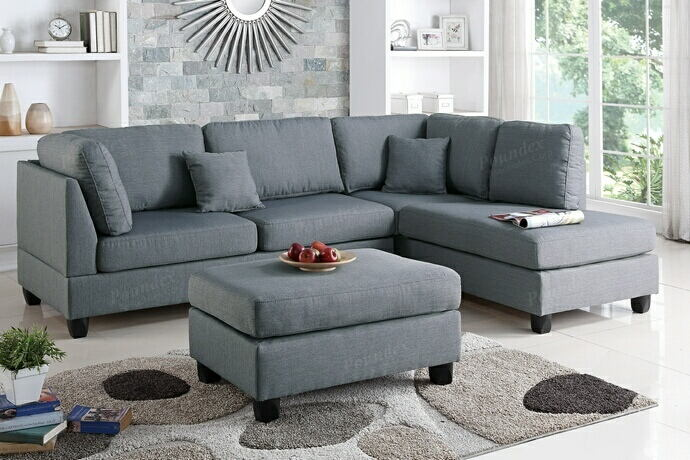 Poundex F7606 3 pc bibler martinique grey polyfiber fabric sectional sofa reversible chaise and ottoman