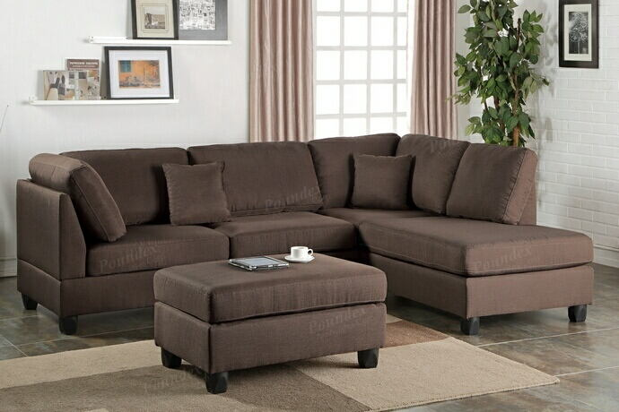 Poundex F7608 3 pc martinique chocolate polyfiber fabric sectional sofa reversible chaise and ottoman