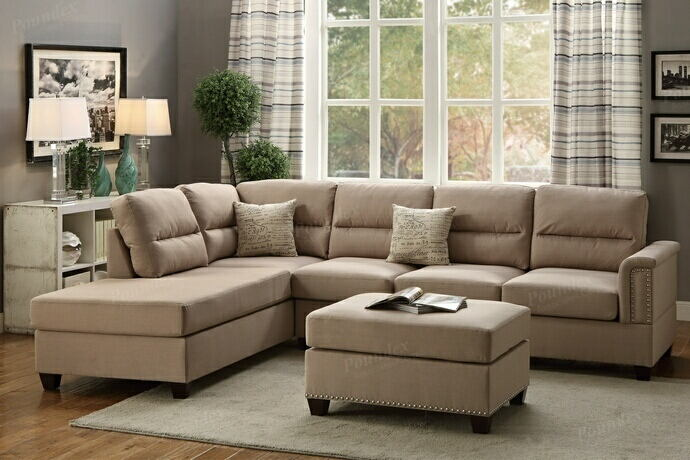 Poundex F7614 3 pc collette sand polyfiber linen like fabric sectional sofa with nail head trim accents