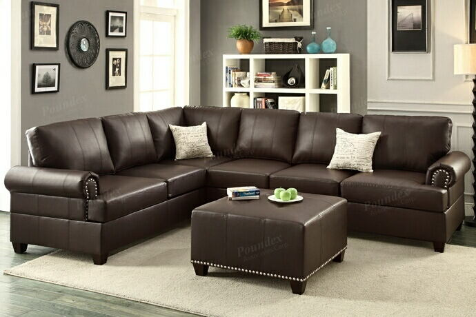 Poundex F7770 2 pc kathryn espresso bonded leather reversible sectional sofa with nail head trim