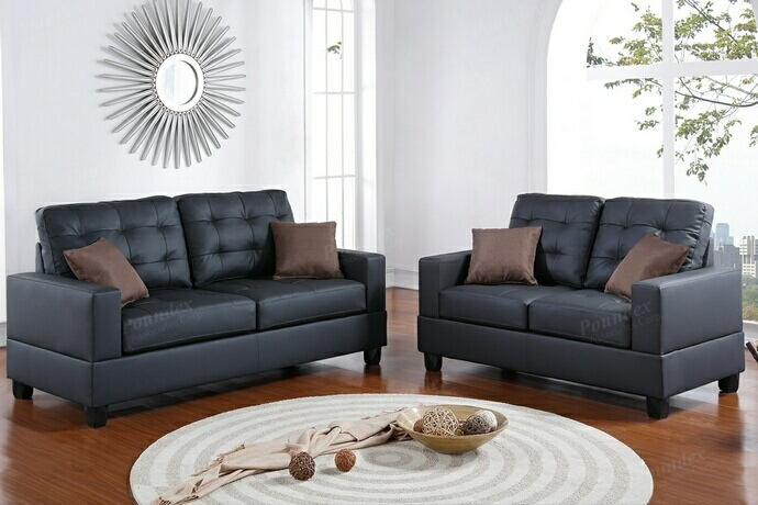 2 pc collette collection black faux leather upholstered sofa and love seat set