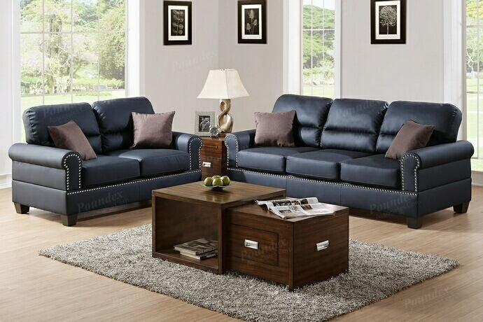 Poundex F7877 2 pc Shelton black bonded leather sofa and love seat set with nail head trim and rounded arms