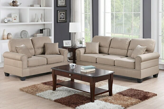 Poundex F7879 2 pc collette collection sand polyfiber fabric upholstered sofa and love seat set with nail head trim and rounded arms