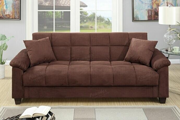 Jasmine collection chocolate microfiber fabric upholstered adjustable storage sofa futon