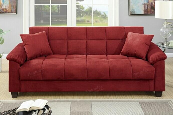 Jasmine collection red microfiber fabric upholstered adjustable storage sofa futon