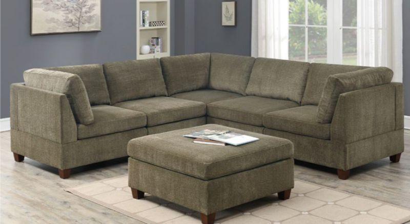 Poundex F823 6 pc Latitude run mckenny tan chenille fabric modular sectional sofa