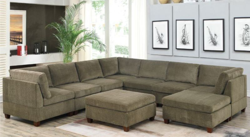 Poundex F827 9 pc Latitude run mckenny tan chenille fabric modular sectional sofa