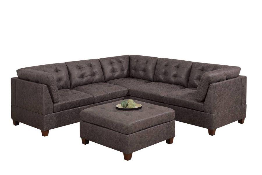 Poundex F841 6 pc Latitude run mckenny dark brown leather like fabric modular sectional sofa