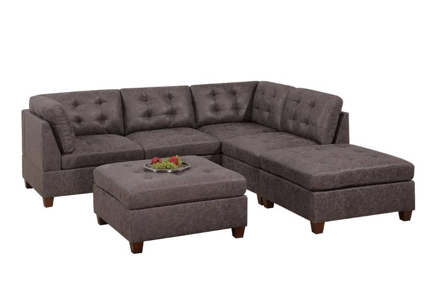 Poundex F842 6 pc Latitude run mckenny dark brown leather like fabric modular sectional sofa