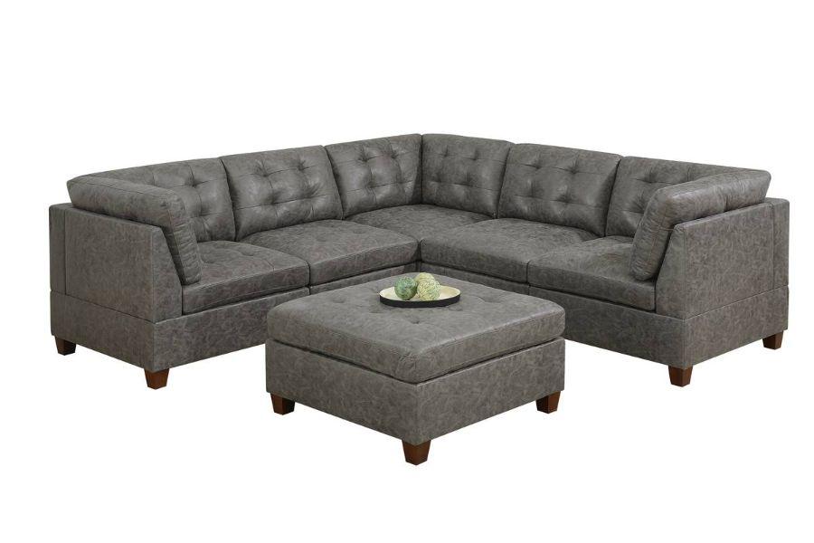 Poundex F843 6 pc Latitude run mckenny antique grey leather like fabric modular sectional sofa