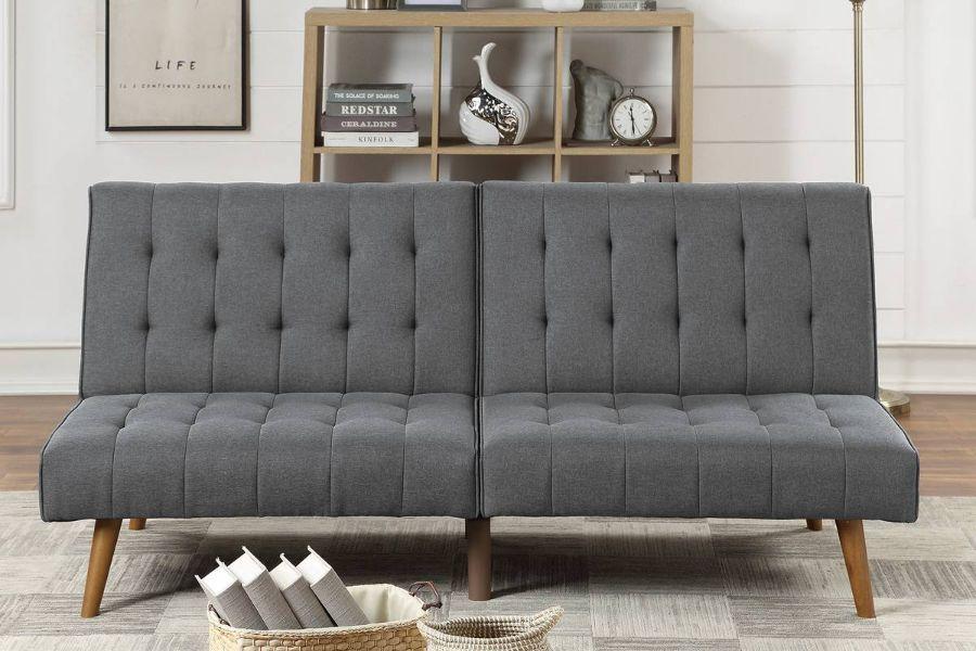 Poundex F8501 AJ homes studio lakeview winston porter kasen blue grey polyfiber sofa futon