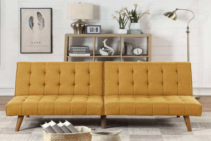 Poundex F8502 AJ homes studio lakeview winston porter kasen mustard polyfiber sofa futon