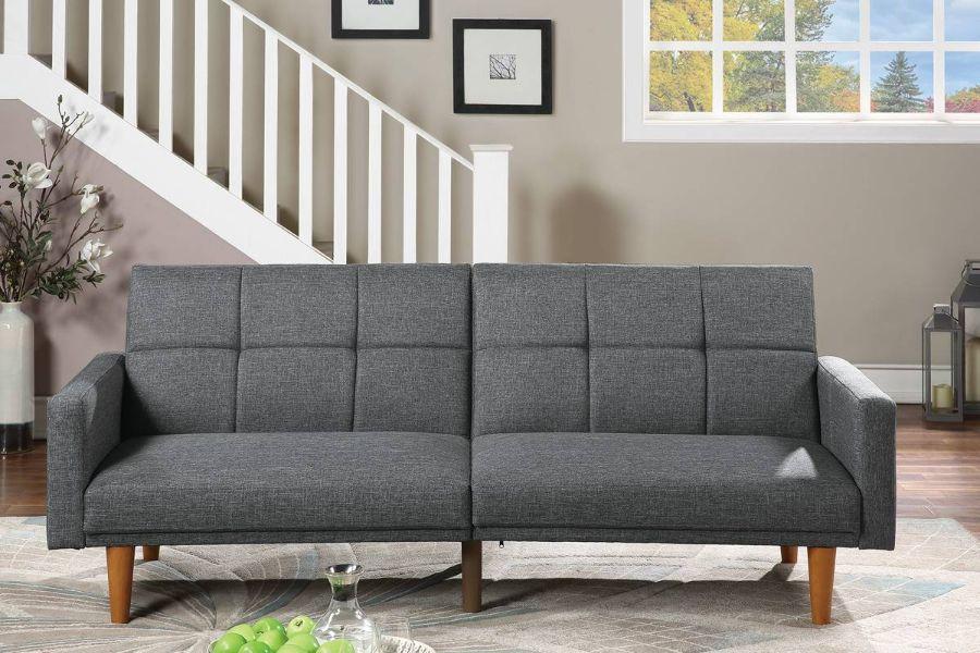 Poundex F8508 AJ homes studio lakeview winston porter kasen blue grey polyfiber sofa futon