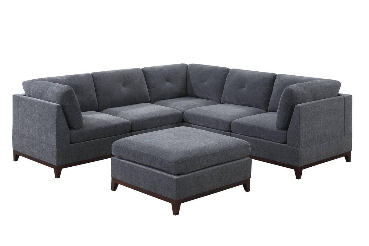 Poundex F861 6 pc Latitude run mckenny ash grey chenille fabric modular sectional sofa