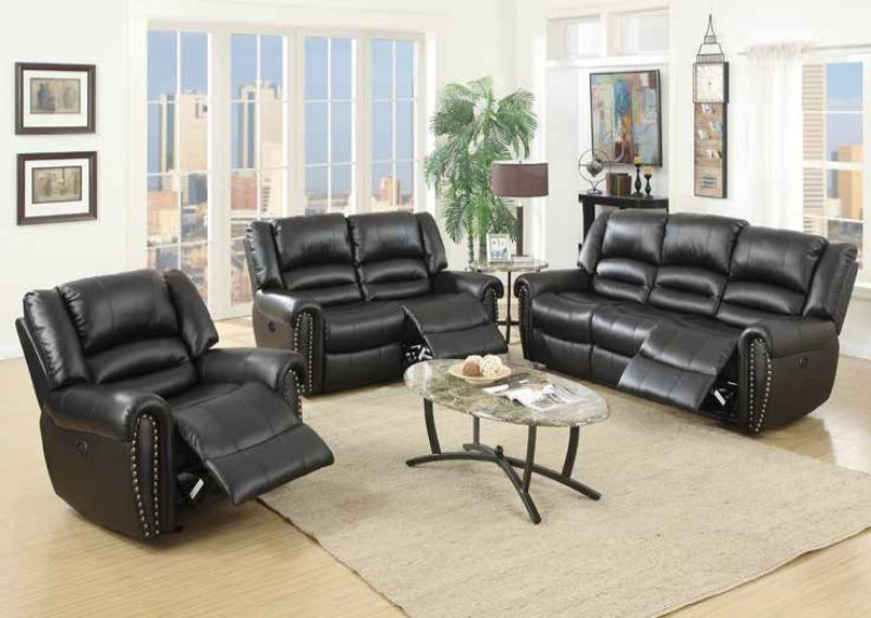 Poundex F86265-66 2 pc Latitude run power motion black bonded leather sofa and love seat set recliner ends