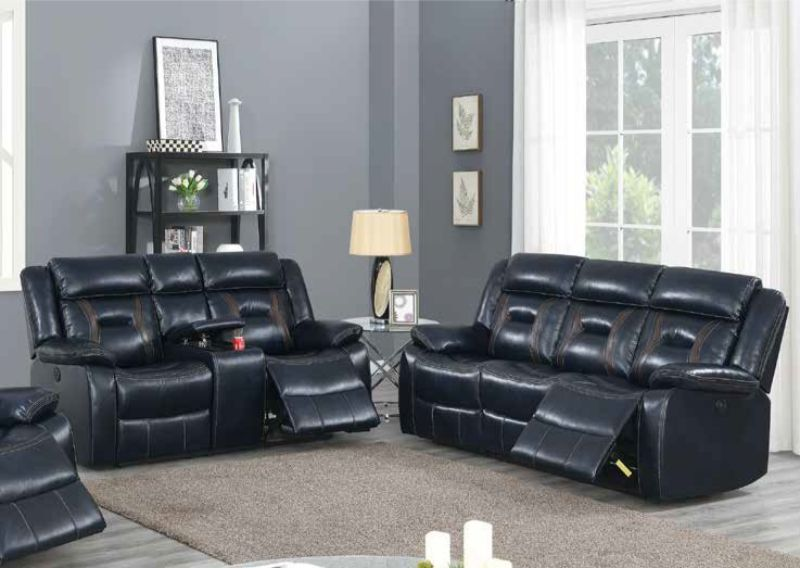 Poundex F86292-93 2 pc Latitude run power motion ink blue gel leatherette sofa and love seat set recliner ends