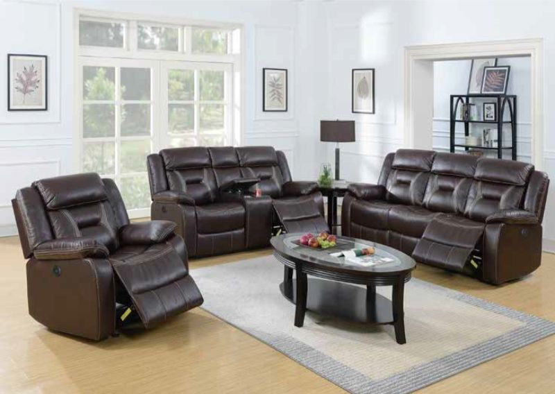 Poundex F86295-96 2 pc Latitude run power motion dark brown gel leatherette sofa and love seat set recliner ends