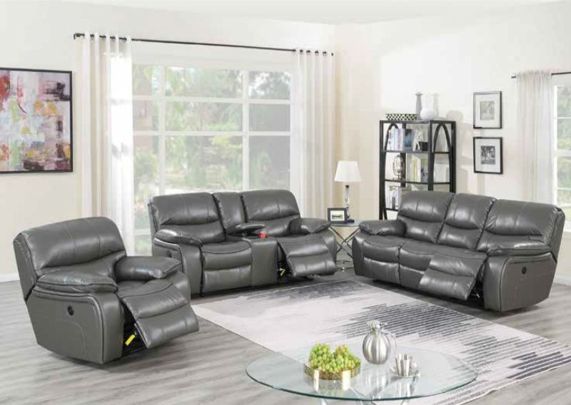 Poundex F86318-19 2 pc Latitude run lauren power motion dark gray gel leatherette sofa and love seat set recliner ends