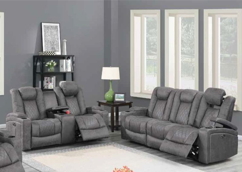 Poundex F86322-23 2 pc Diligent power motion antique gray leatherette sofa and love seat set power headrests