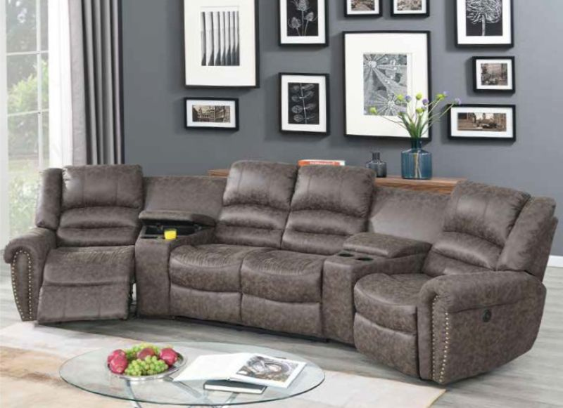 Poundex F86601 5 pc Breese collette taupe palomino fabric power motion theater sectional sofa with recliners
