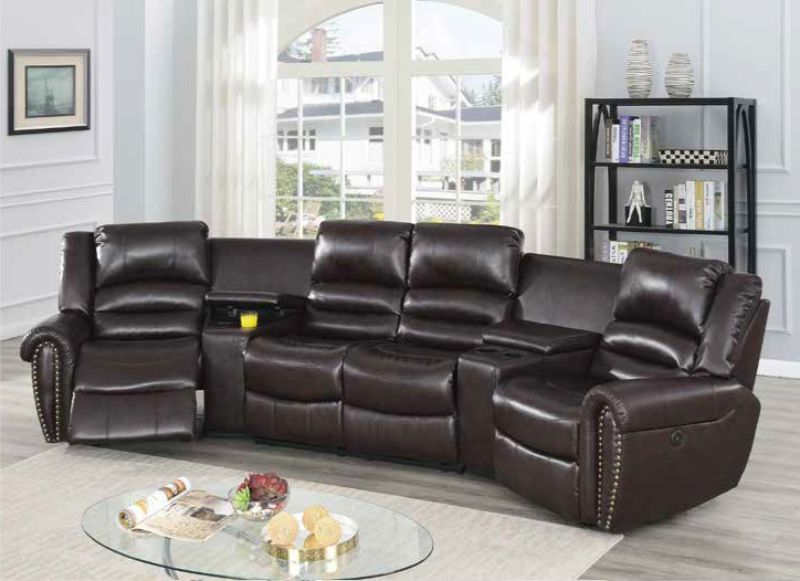 Poundex F86603 5 pc Breese collette brown bonded leather power motion theater sectional sofa with recliners