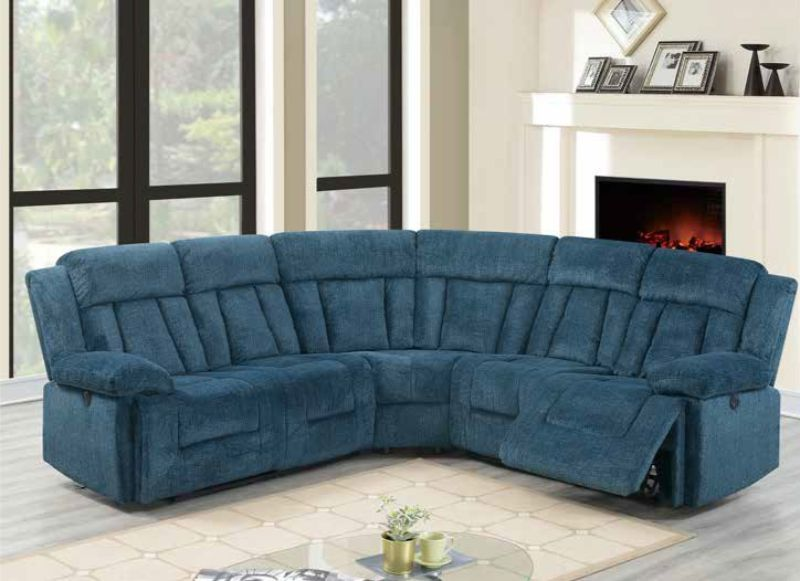 Poundex F86604 3 pc Restin palace dark blue chenille power motion sectional sofa