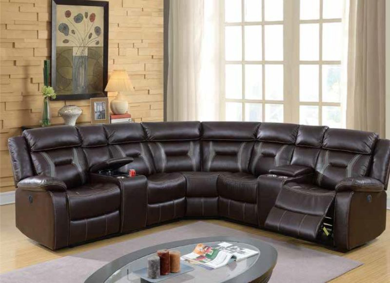 Poundex F86610 3 pc Briston two tone dark brown leatherette power motion sectional sofa with consoles