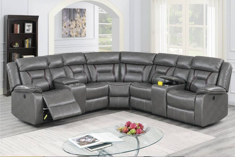 Poundex F86611 3 pc Briston two tone gray leatherette power motion sectional sofa with consoles