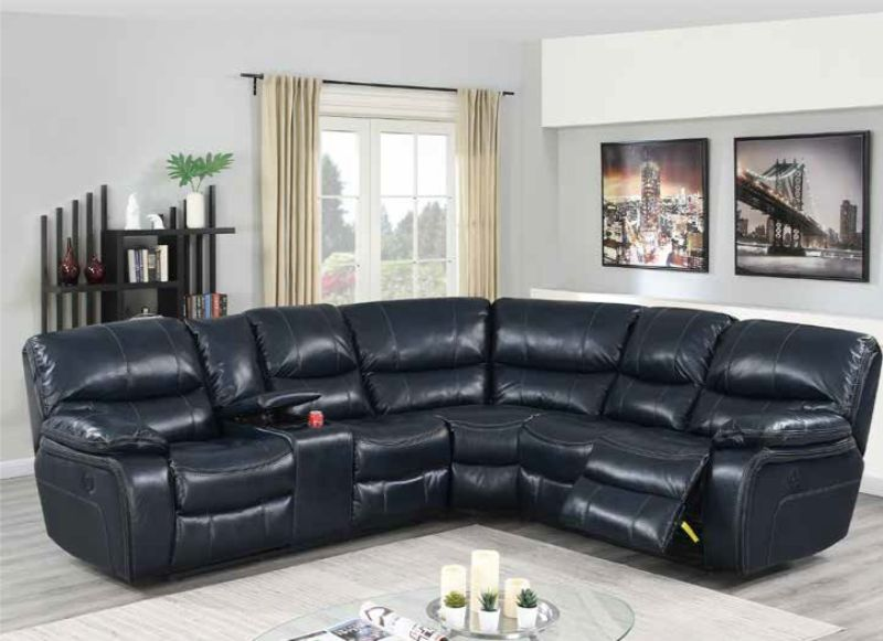 Poundex F86614 3 pc Briston ink blue leatherette power motion sectional sofa with console