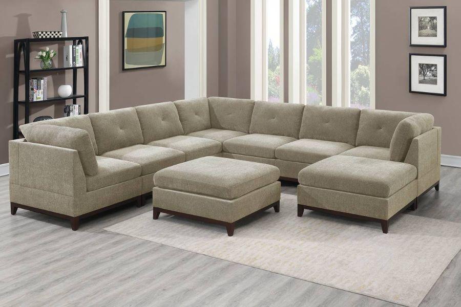 Poundex F867 9 pc Latitude run mckenny camel chenille fabric modular sectional sofa