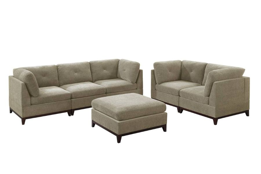 Poundex F872 6 pc Latitude run mckenny camel chenille fabric modular sectional sofa