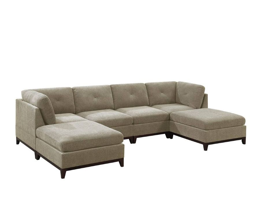 Poundex F874 6 pc Latitude run mckenny camel chenille fabric modular sectional sofa