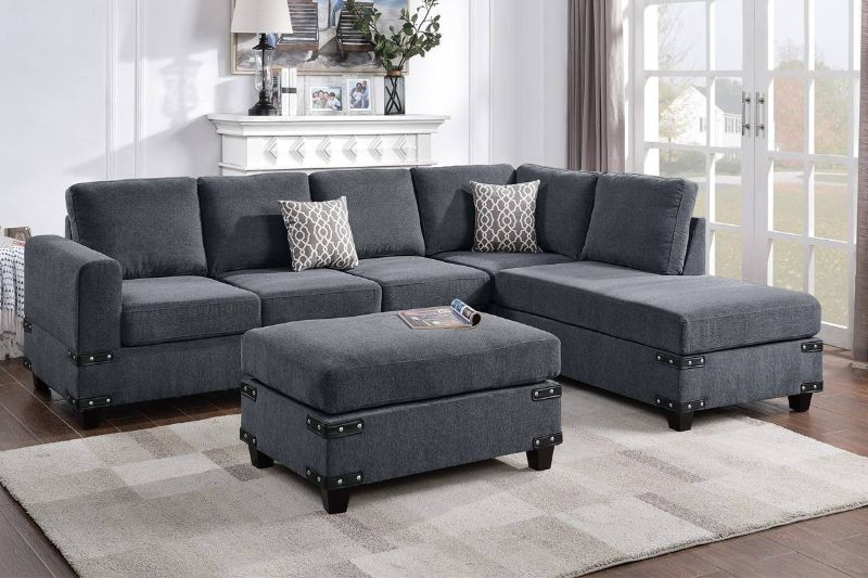 Poundex F8804 3 pc Ivy bronx vita charcoal chenille fabric sectional sofa reversible chaise and ottoman