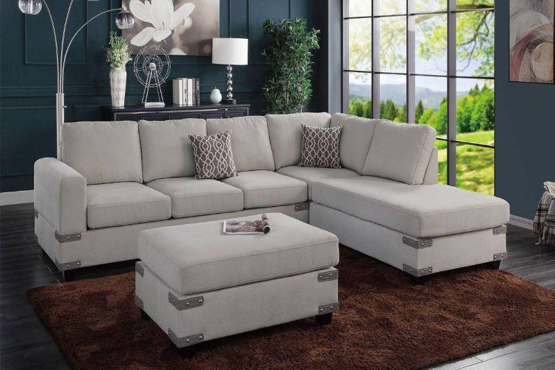 Poundex F8805 3 pc Ivy bronx vita mushroom chenille fabric sectional sofa reversible chaise and ottoman