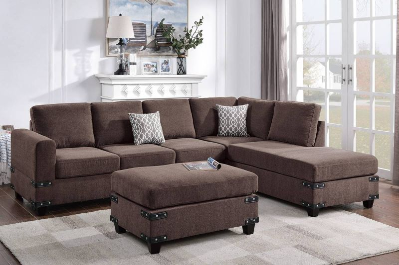 Poundex F8806 3 pc Ivy bronx vita chocolate chenille fabric sectional sofa reversible chaise and ottoman