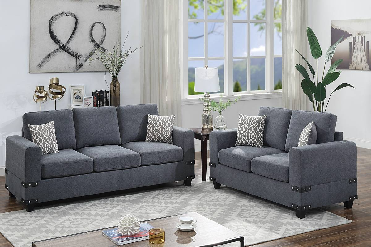 Poundex F8807 2 pc Dillion james charcoal chenille fabric sofa and love seat set