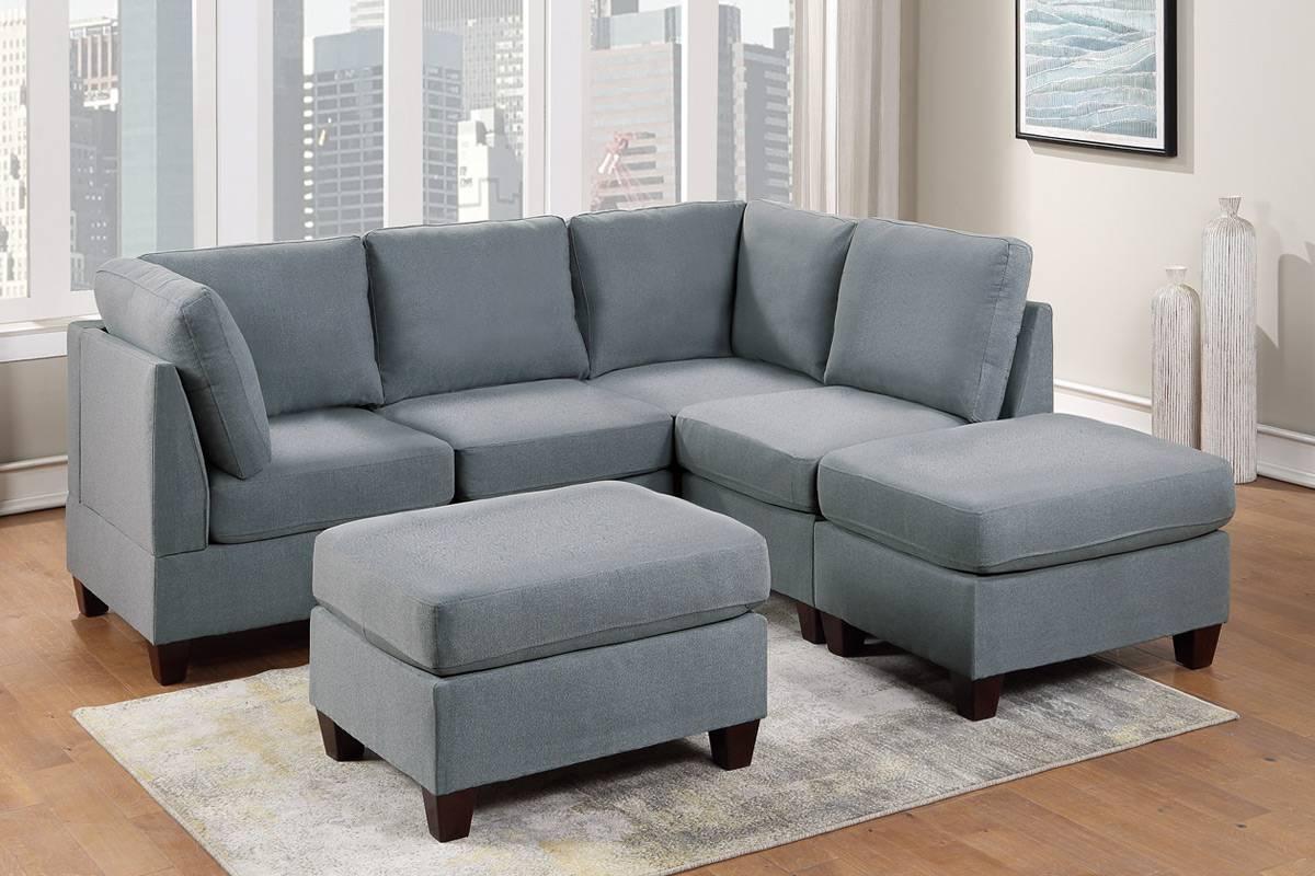 Poundex F882 6 pc Latitude run mckenny grey linen like fabric modular sectional sofa set