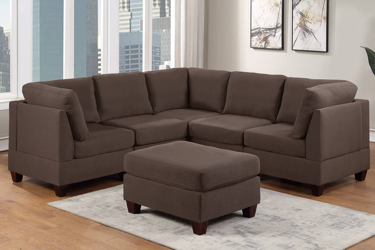 Poundex F883 6 pc Latitude run mckenny black coffee linen like fabric modular sectional sofa set