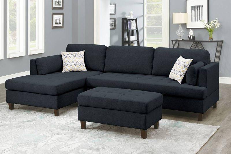 Poundex F8831 3 pc Ivy bronx vita black polyfiber fabric sectional sofa reversible chaise and ottoman