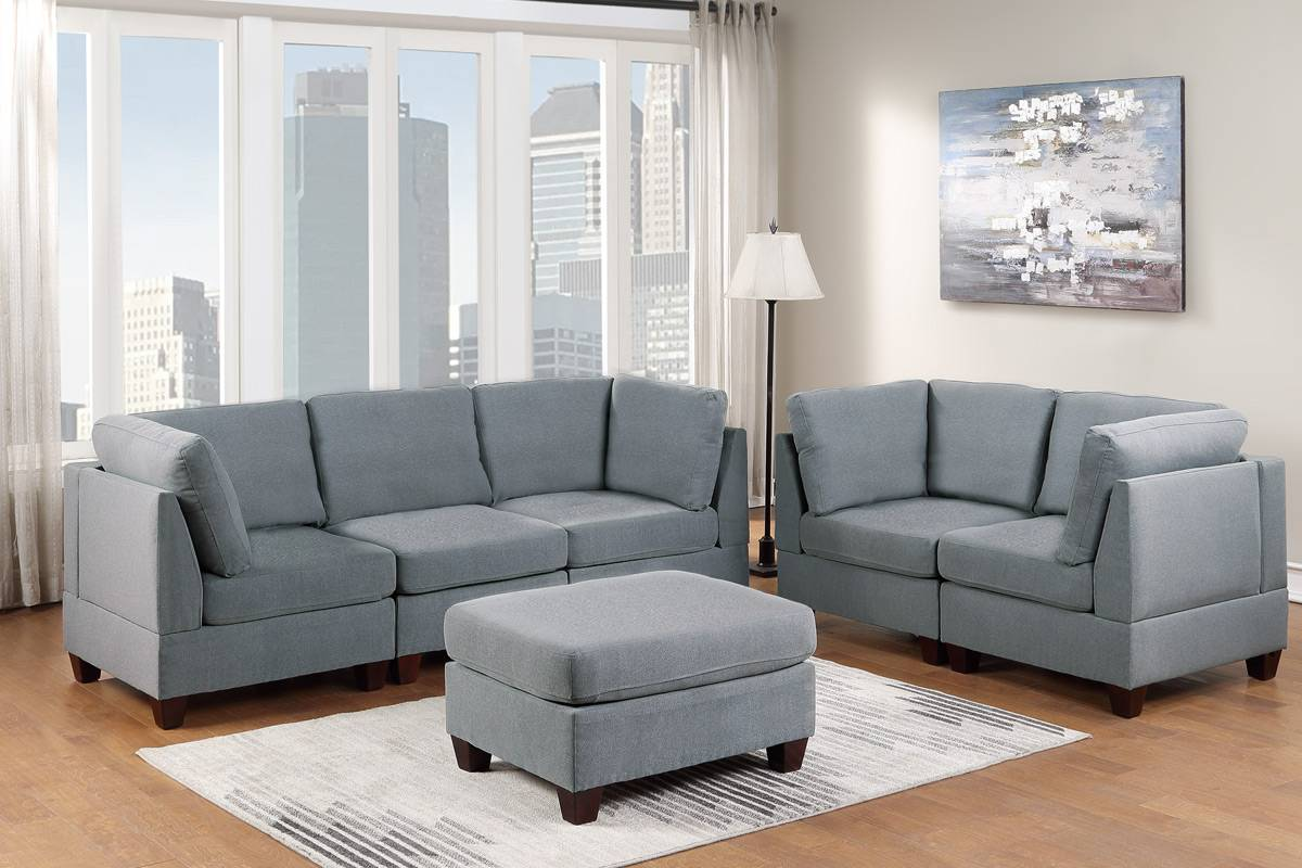 Poundex F890 6 pc Latitude run mckenny grey linen like fabric modular sectional sofa set