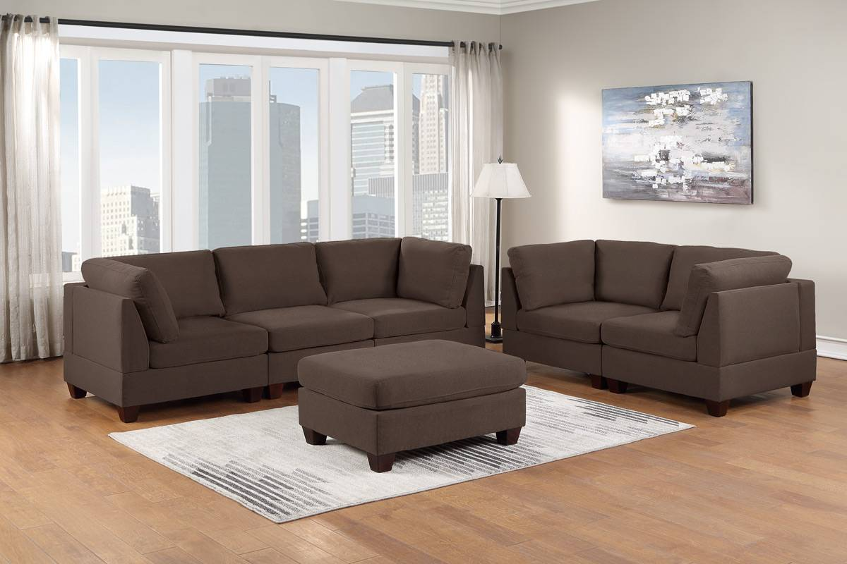 Poundex F892 6 pc Latitude run mckenny black coffee linen like fabric modular sectional sofa set