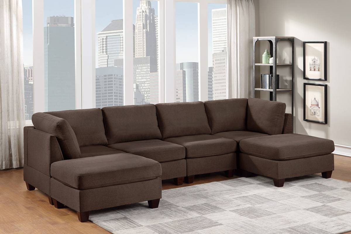 Poundex F895 6 pc Latitude run mckenny black coffee linen like fabric modular sectional sofa set